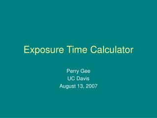 Exposure Time Calculator