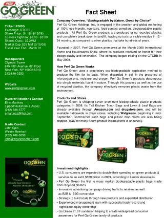 "Company Overview. "" Biodegradable by Nature, Green by Choice """