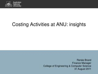 Costing Activities at ANU: insights