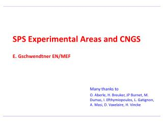 SPS Experimental Areas and CNGS E. Gschwendtner EN/MEF