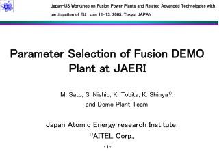 Parameter Selection of Fusion DEMO Plant at JAERI