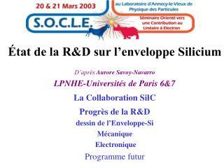 État de la R&D sur l'enveloppe Silicium