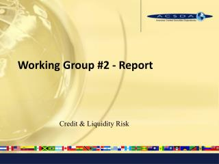 Working Group #2 - Report
