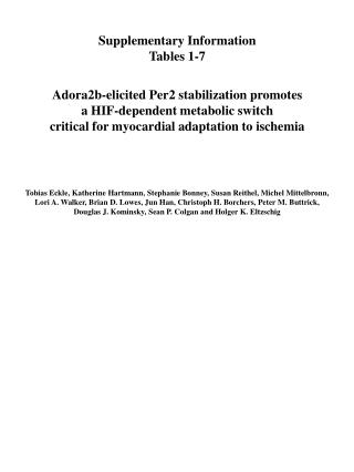 Supplementary Information Tables 1-7 Adora2b-elicited Per2 stabilization promotes