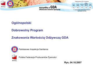 Ogólnopolski  Dobrowolny Program  Znakowania Wartością Odżywczą GDA