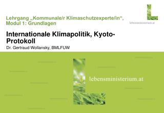 """Lehrgang """"Kommunale/r Klimaschutzexperte/in"""", Modul 1: Grundlagen"""