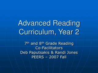 Advanced Reading Curriculum, Year 2