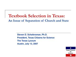 Textbook Selection in Texas: An Issue of Separation of Church and State