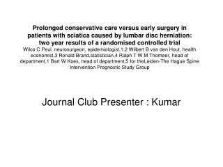 Journal Club Presenter : Kumar