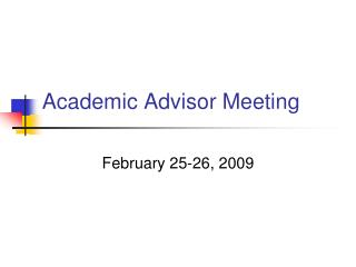 Academic Advisor Meeting