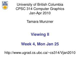 Viewing II Week 4, Mon Jan 25