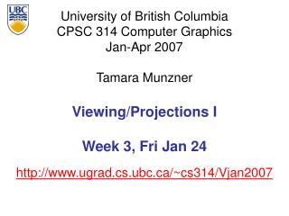 Viewing/Projections I Week 3, Fri Jan 24