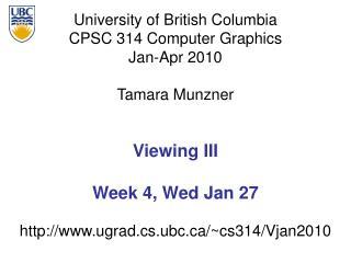 Viewing III Week 4, Wed Jan 27