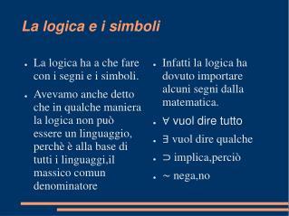 La logica e i simboli