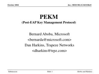 PEKM (Post-EAP Key Management Protocol)