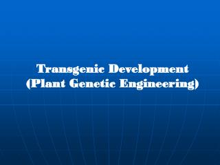 Transgenic Development (Plant Genetic Engineering)