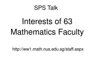SPS Talk