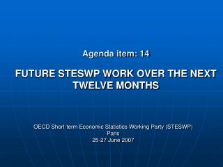 Agenda item: 14 FUTURE STESWP WORK OVER THE NEXT TWELVE MONTHS