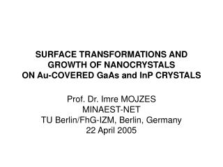 SURFACE TRANSFORMATIONS AND GROWTH OF NANOCRYSTALS ON Au-COVERED GaAs  and InP  CRYSTALS