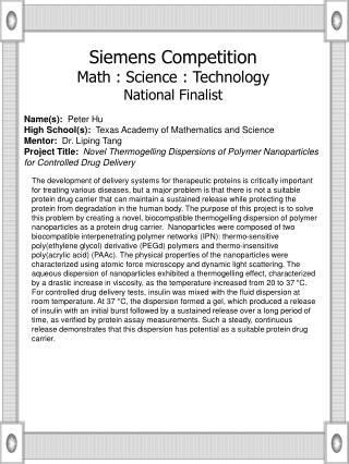 Name(s):   Peter Hu High School(s):   Texas Academy of Mathematics and Science