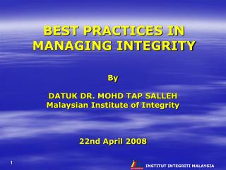 BEST PRACTICES IN MANAGING INTEGRITY