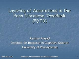 Layering of Annotations in the Penn Discourse TreeBank (PDTB)