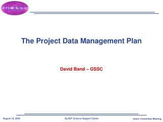 The Project Data Management Plan