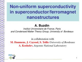 Non-uniform superconductivity in superconductor/ferromagnet nanostructures