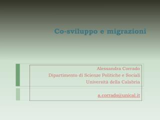 Co-sviluppo  e migrazioni