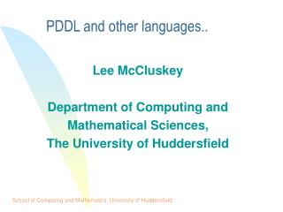 PDDL and other languages..