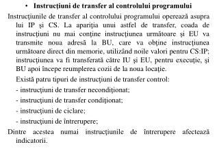 Instrucţiuni de transfer al controlului programului
