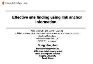 Effective site finding using link anchor information