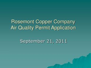 Rosemont Copper Company Air Quality Permit Application