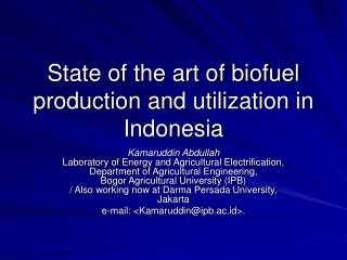 State of the art of biofuel production and utilization in Indonesia