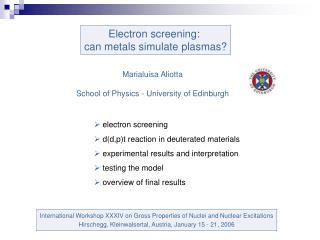 Electron screening:  can metals simulate plasmas?