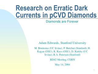 Research on Erratic Dark Currents in pCVD Diamonds