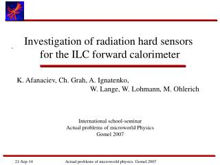 Investigation of radiation hard sensors  for the ILC forward calorimeter