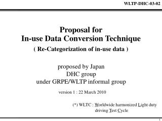 Proposal for  In-use Data Conversion Technique  ( Re-Categorization of in-use data )