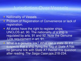Jurisdiction Over Vessels