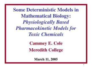 Cammey E. Cole Meredith College March 11, 2005