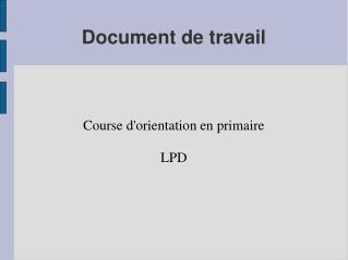 Document de travail