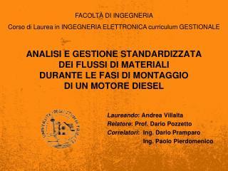 Laureando : Andrea Villalta Relatore : Prof. Dario  Pozzetto Correlatori :   Ing . Dario  Pramparo