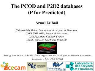 The PCOD and P2D2 databases (P for Predicted) Armel Le Bail