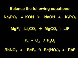 Balance the following equations