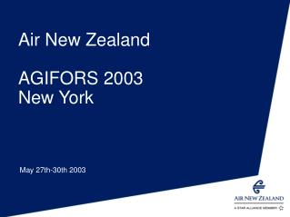 Air New Zealand AGIFORS 2003 New York