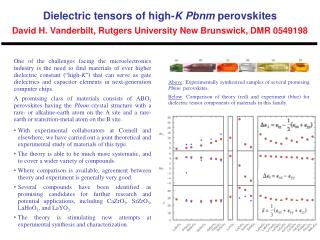 Above : Experimentally synthesized samples of several promising   Pbnm   perovskites.