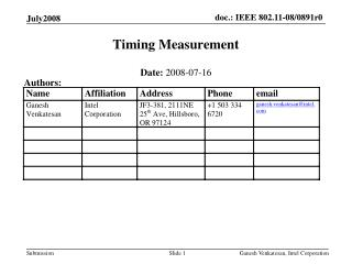 Timing Measurement