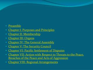 Preamble  Chapter I: Purposes and Principles  Chapter II: Membership  Chapter III: Organs