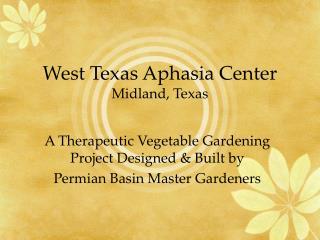 West Texas Aphasia Center Midland, Texas