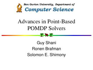 Advances in Point-Based POMDP Solvers